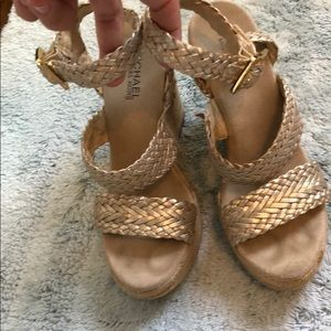 Michael by Michael Kors gold wedges size 7